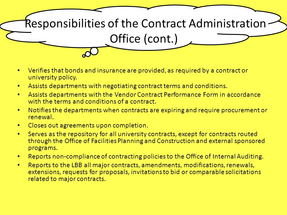 Responsibilities of the Contract Administration
