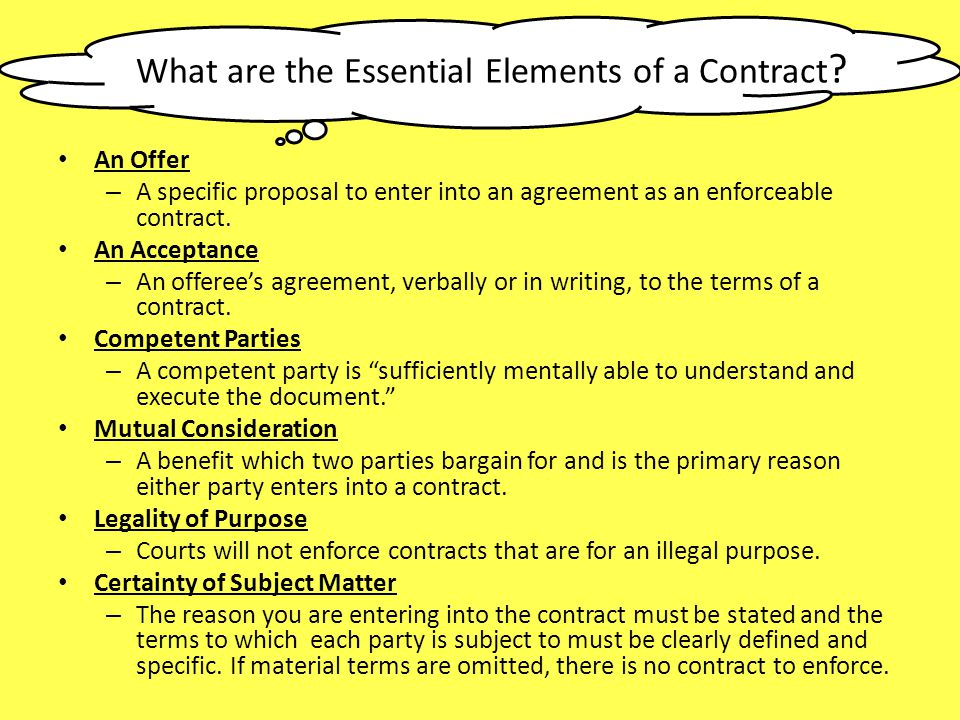 What are the Essential Elements of a Contract