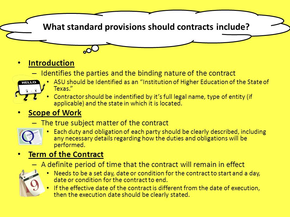 What standard provisions should contracts include