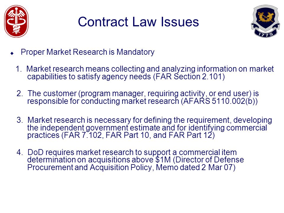 Contract Law Issues Proper Market Research is Mandatory