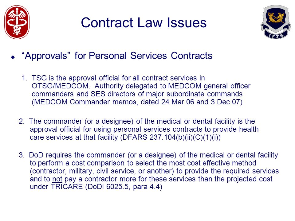 Contract Law Issues Approvals for Personal Services Contracts
