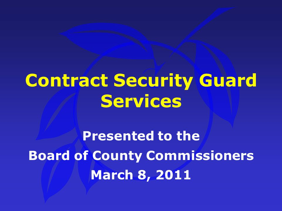 Contract Security Guard Services