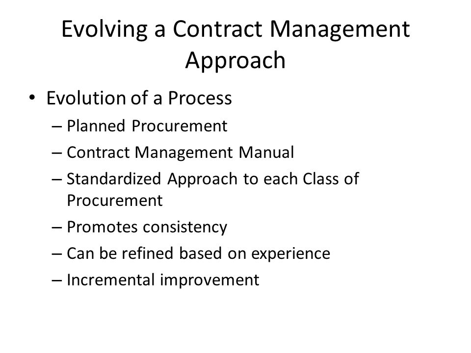Evolving a Contract Management Approach