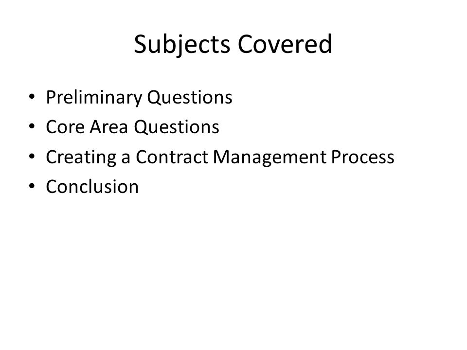 Subjects Covered Preliminary Questions Core Area Questions