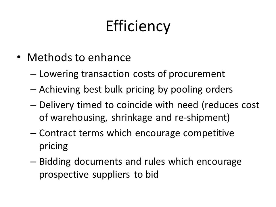 Efficiency Methods to enhance
