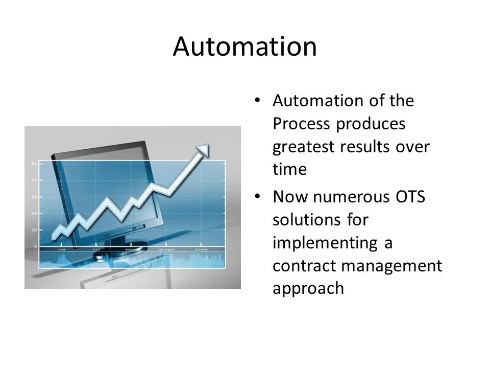 Automation Automation of the Process produces greatest results over time.