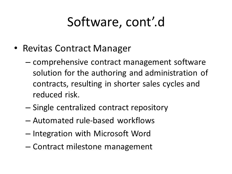 Software, cont'.d Revitas Contract Manager