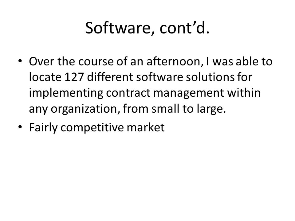 Software, cont'd.