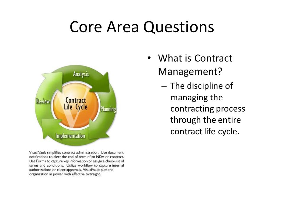 Core Area Questions What is Contract Management