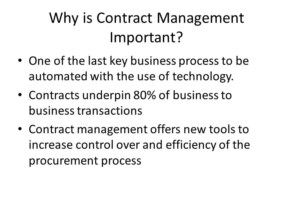 Why is Contract Management Important