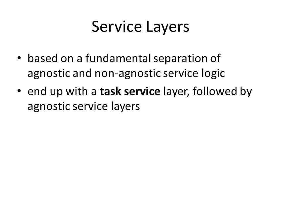 Service Layers based on a fundamental separation of agnostic and non-agnostic service logic.