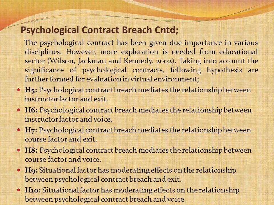 Psychological Contract Breach Cntd;