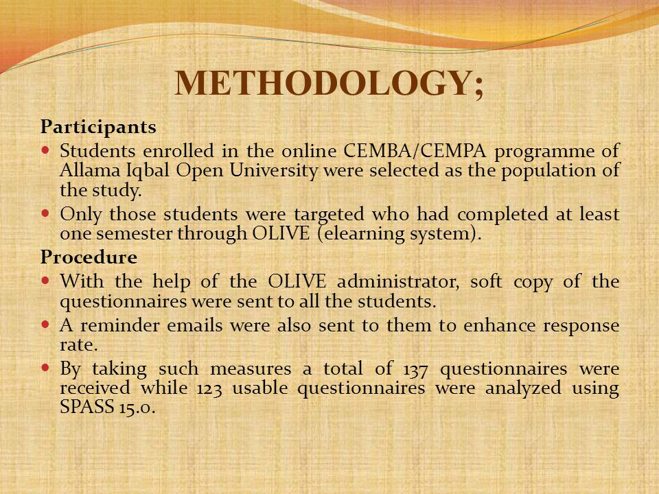 METHODOLOGY; Participants