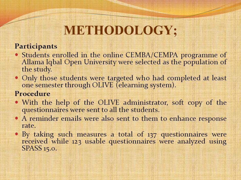 METHODOLOGY; Participants