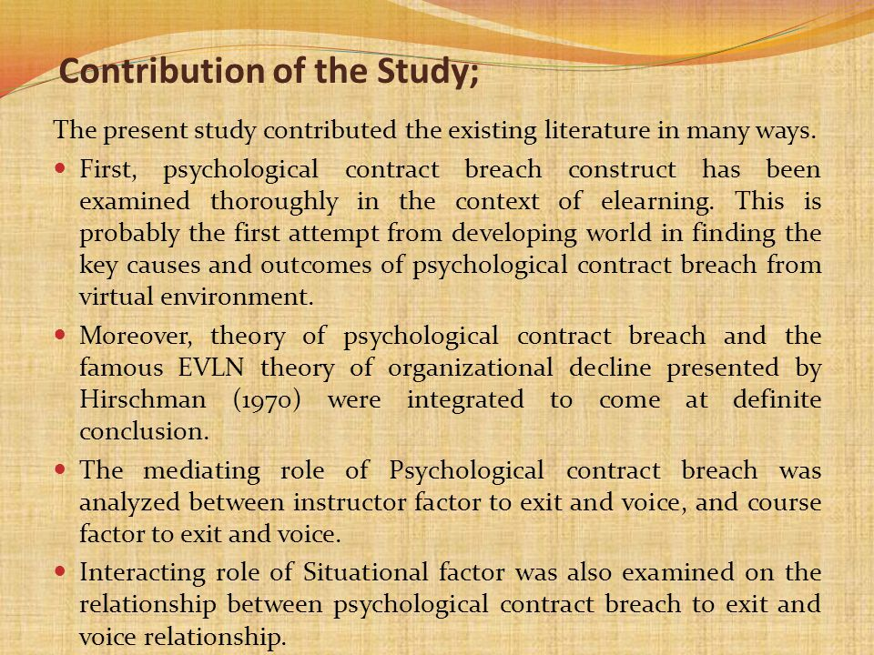 Contribution of the Study;