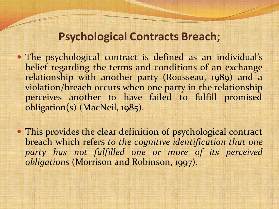 Psychological Contracts Breach;