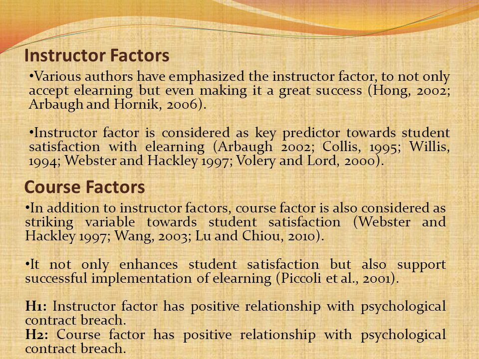 Instructor Factors Course Factors