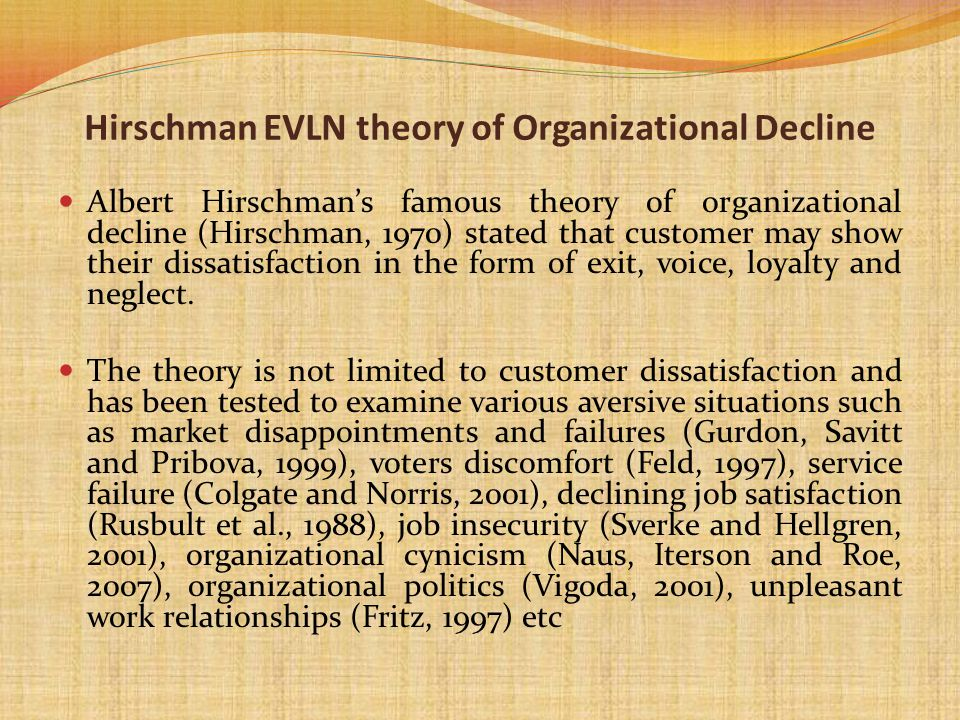 Hirschman EVLN theory of Organizational Decline