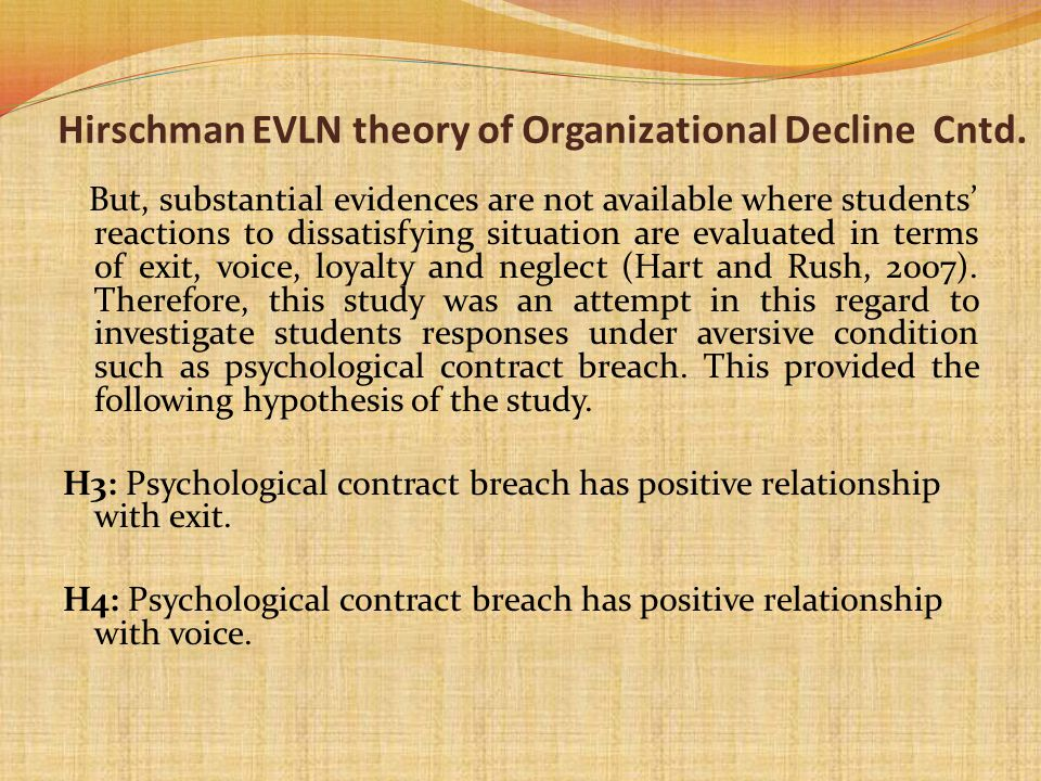 Hirschman EVLN theory of Organizational Decline Cntd.