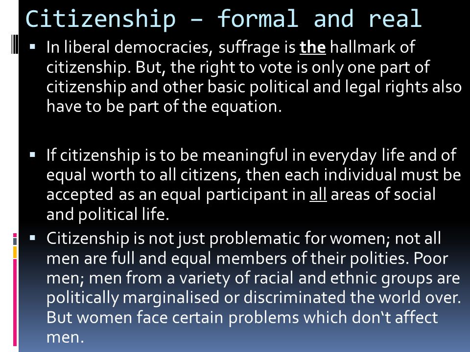 Citizenship – formal and real