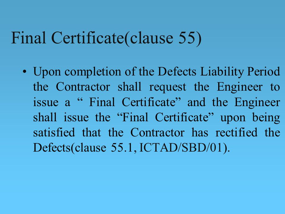 Final Certificate(clause 55)
