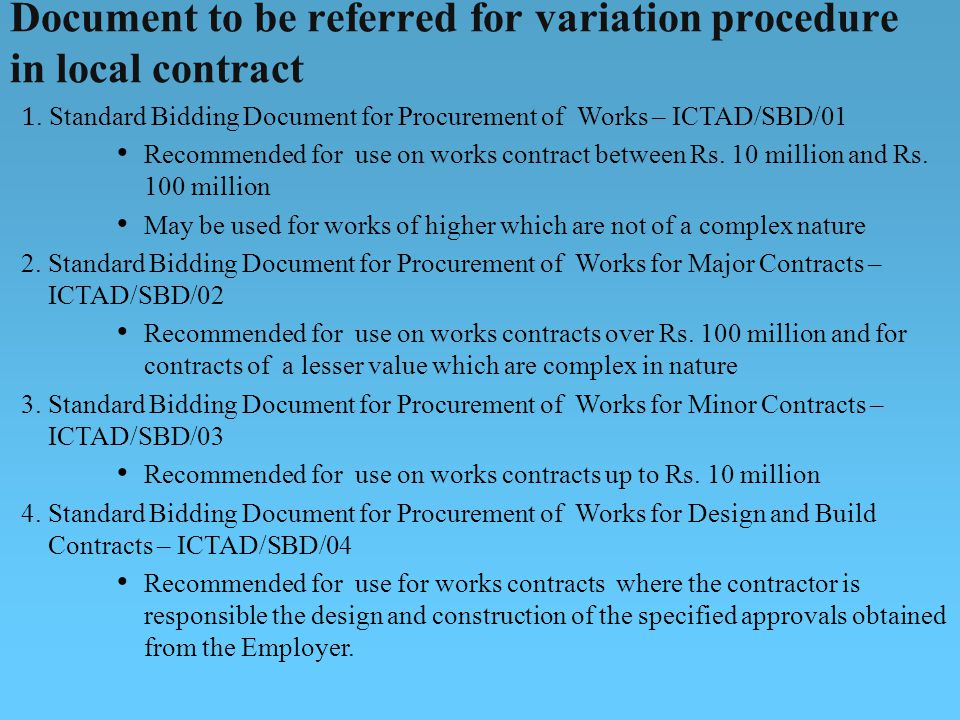 Document to be referred for variation procedure in local contract