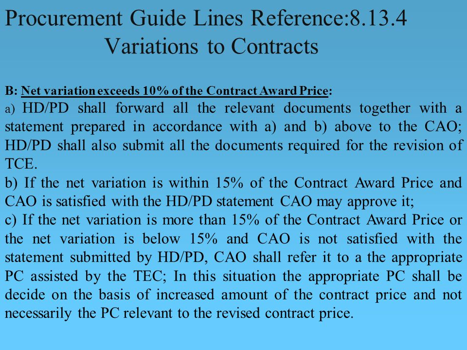 Procurement Guide Lines Reference: Variations to Contracts