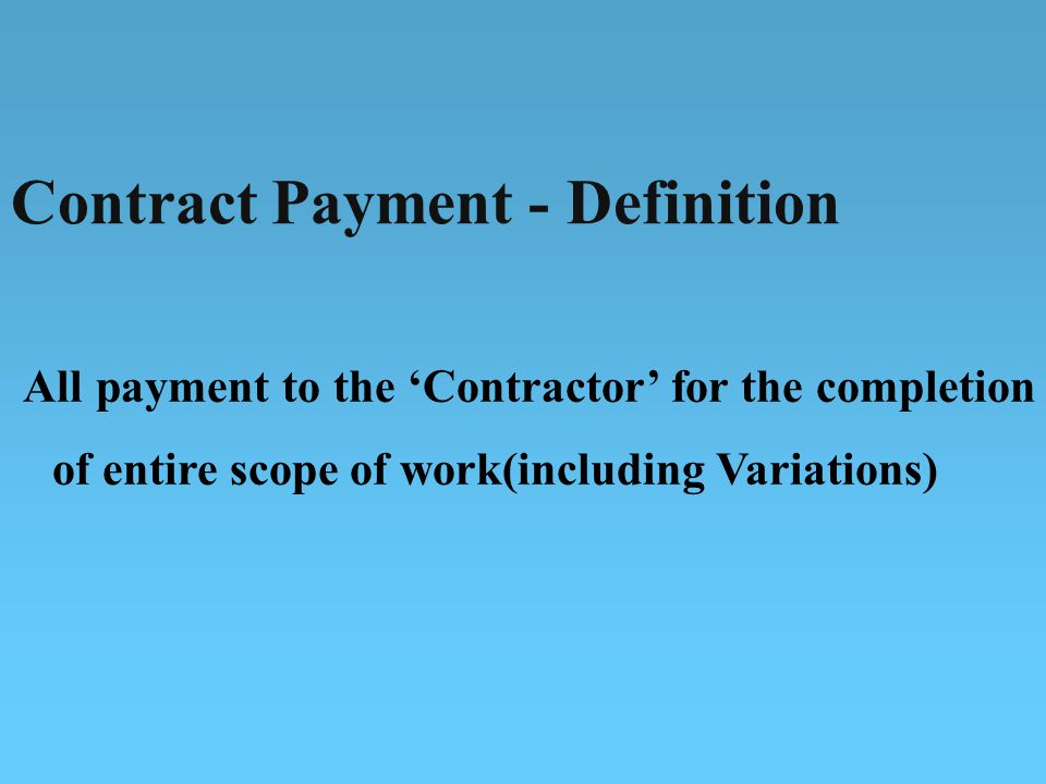 Contract Payment - Definition