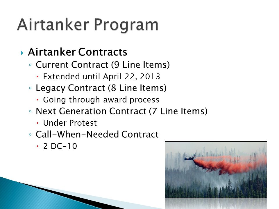 Airtanker Program Airtanker Contracts Current Contract (9 Line Items)