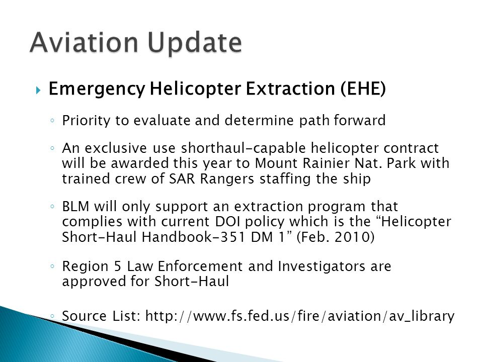 Aviation Update Emergency Helicopter Extraction (EHE)
