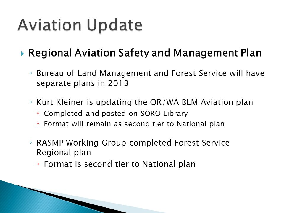 Aviation Update Regional Aviation Safety and Management Plan