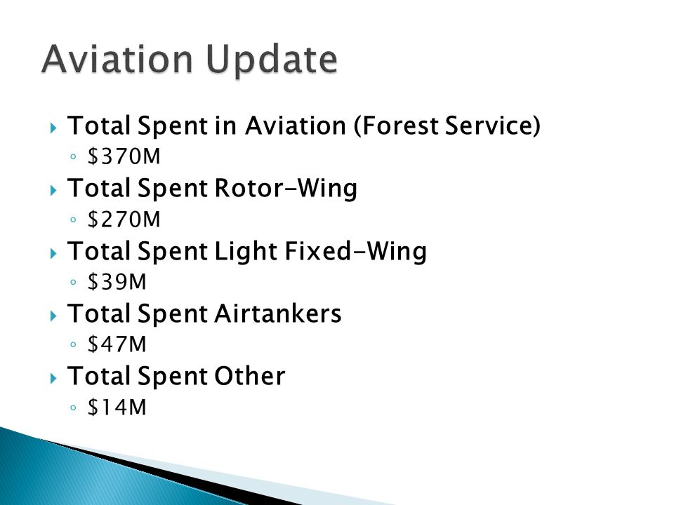 Aviation Update Total Spent in Aviation (Forest Service)