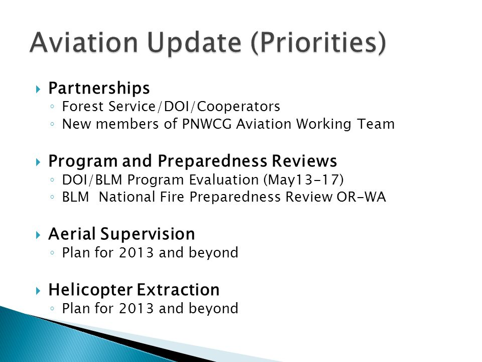 Aviation Update (Priorities)