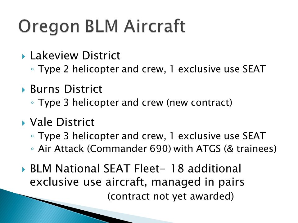 Oregon BLM Aircraft Lakeview District Burns District Vale District