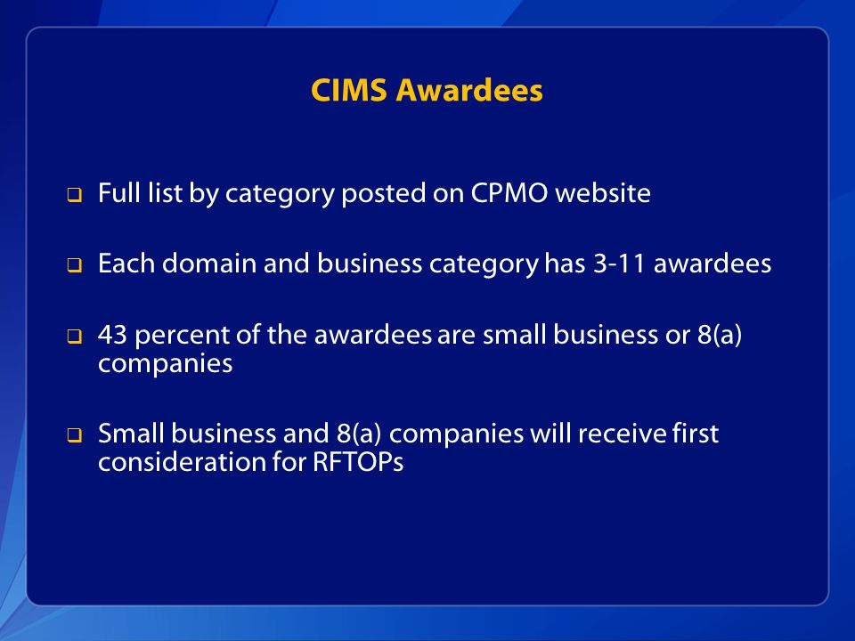 CIMS Awardees Full list by category posted on CPMO website