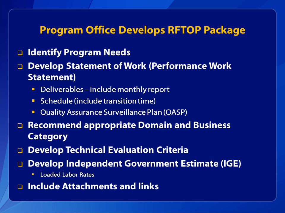 Program Office Develops RFTOP Package