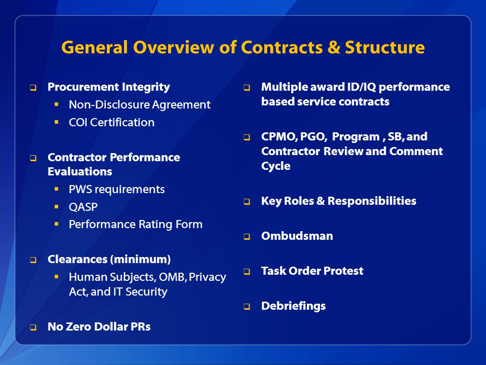 General Overview of Contracts & Structure