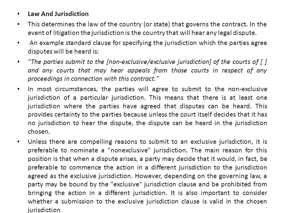 Law And Jurisdiction