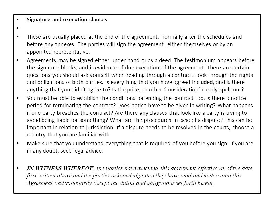 Signature and execution clauses