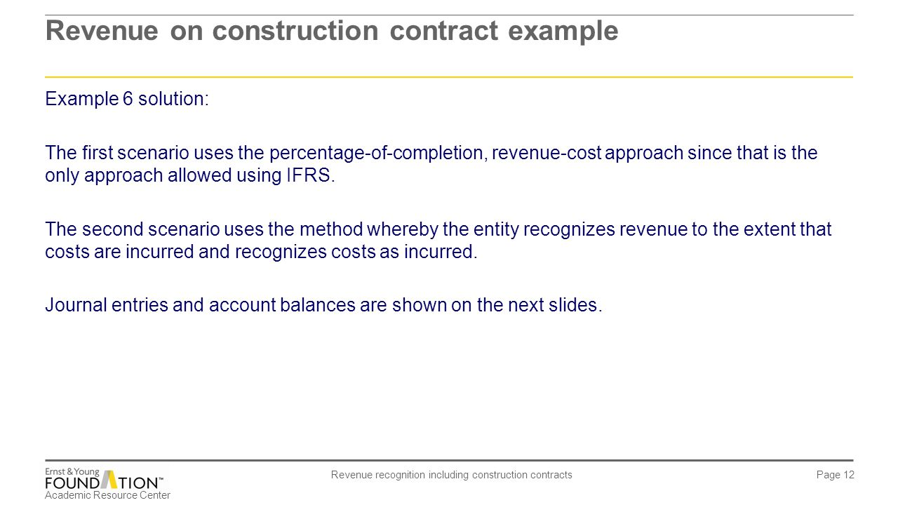 Revenue on construction contract example