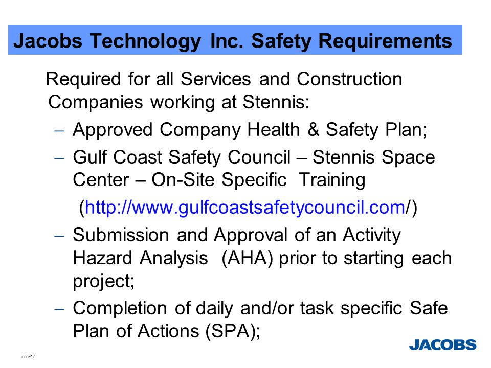 Jacobs Technology Inc. Safety Requirements