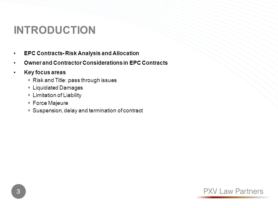introduction EPC Contracts- Risk Analysis and Allocation