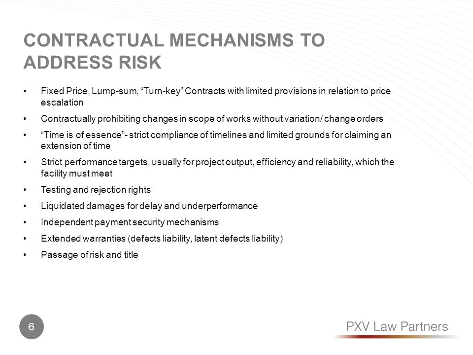 Contractual MECHANISMS TO ADDRESS RISK