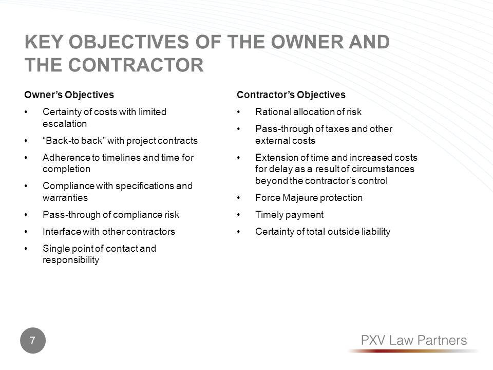 KEY OBJECTIVES OF THE OWNER AND THE CONTRACTOR