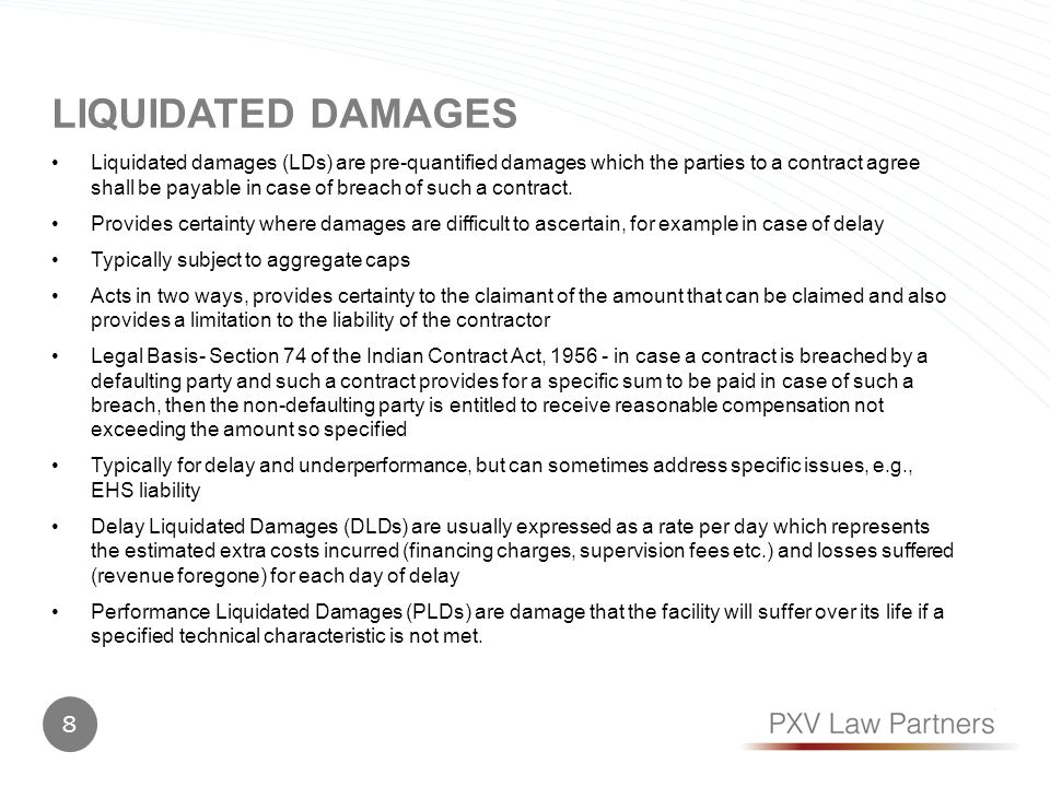 liquidated damages vs penalty are causation These are not a punishment to the party that breached the contract nor is it a way of intimidating the party into performing it's duties by fear of a penalty if he does not the following are the different kinds of damages.
