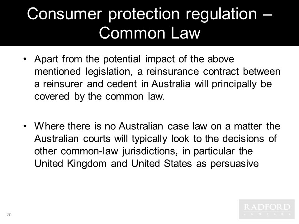 Consumer protection regulation – Common Law