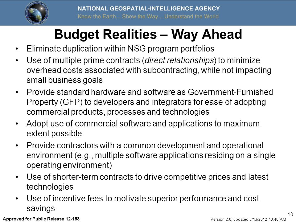 Budget Realities – Way Ahead