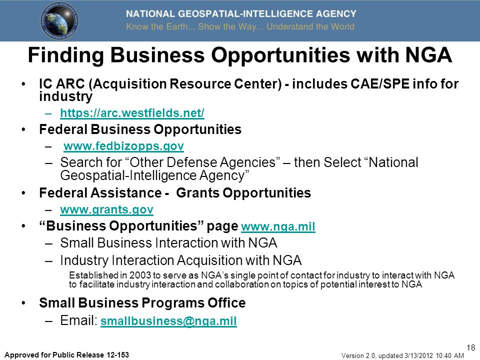 Finding Business Opportunities with NGA