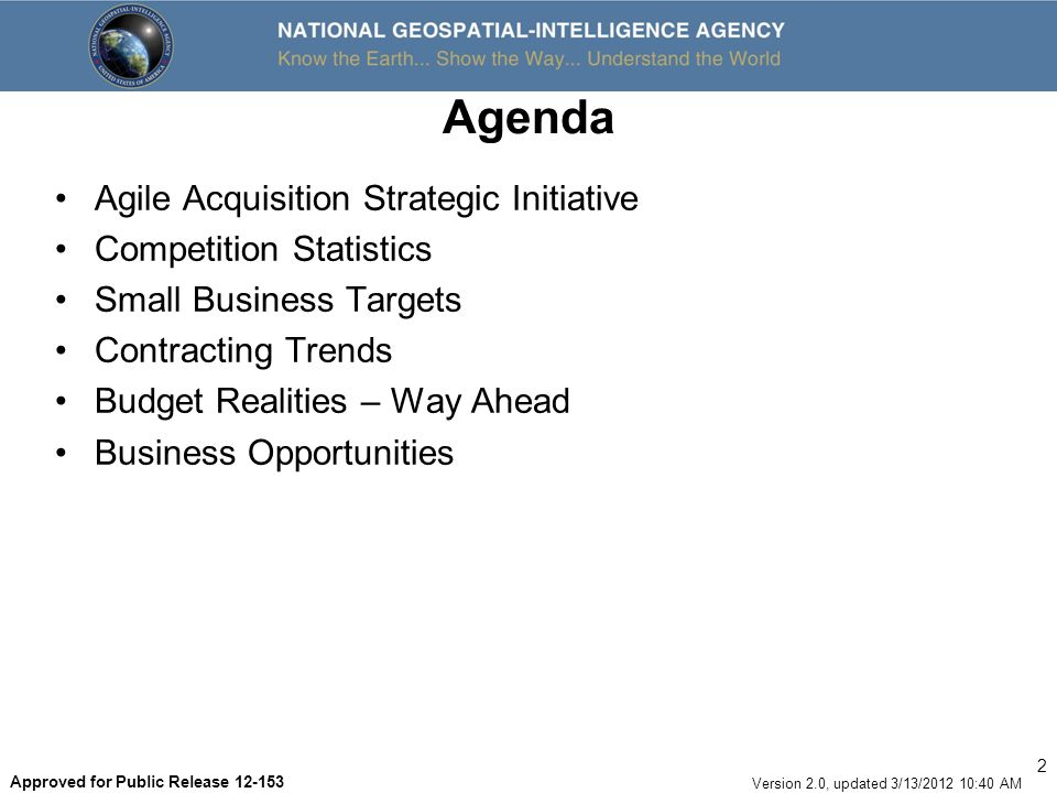 Agenda Agile Acquisition Strategic Initiative Competition Statistics