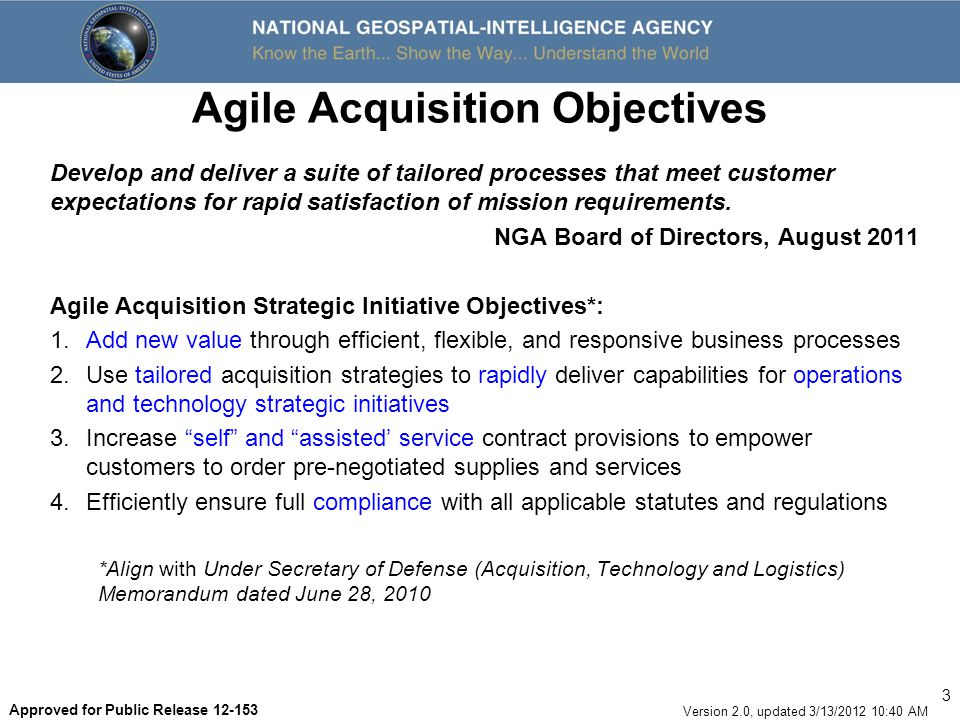 Agile Acquisition Objectives